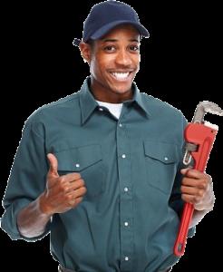 Black man Plumber holding Pipe Wrench